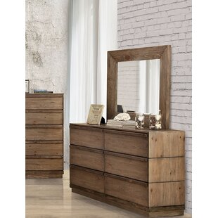Union Rustic Pisani 6 Drawer Double Dresser with Mirror