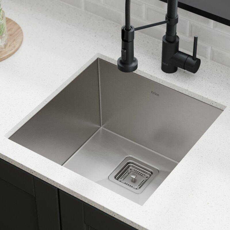 Pax Kraus Khu19 Gauge Single Bowl Stainless Steel 18 5 L X 18 W Undermount Kitchen Sink