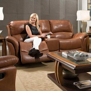 Orren Ellis Czapla Leather Reclining Loveseat