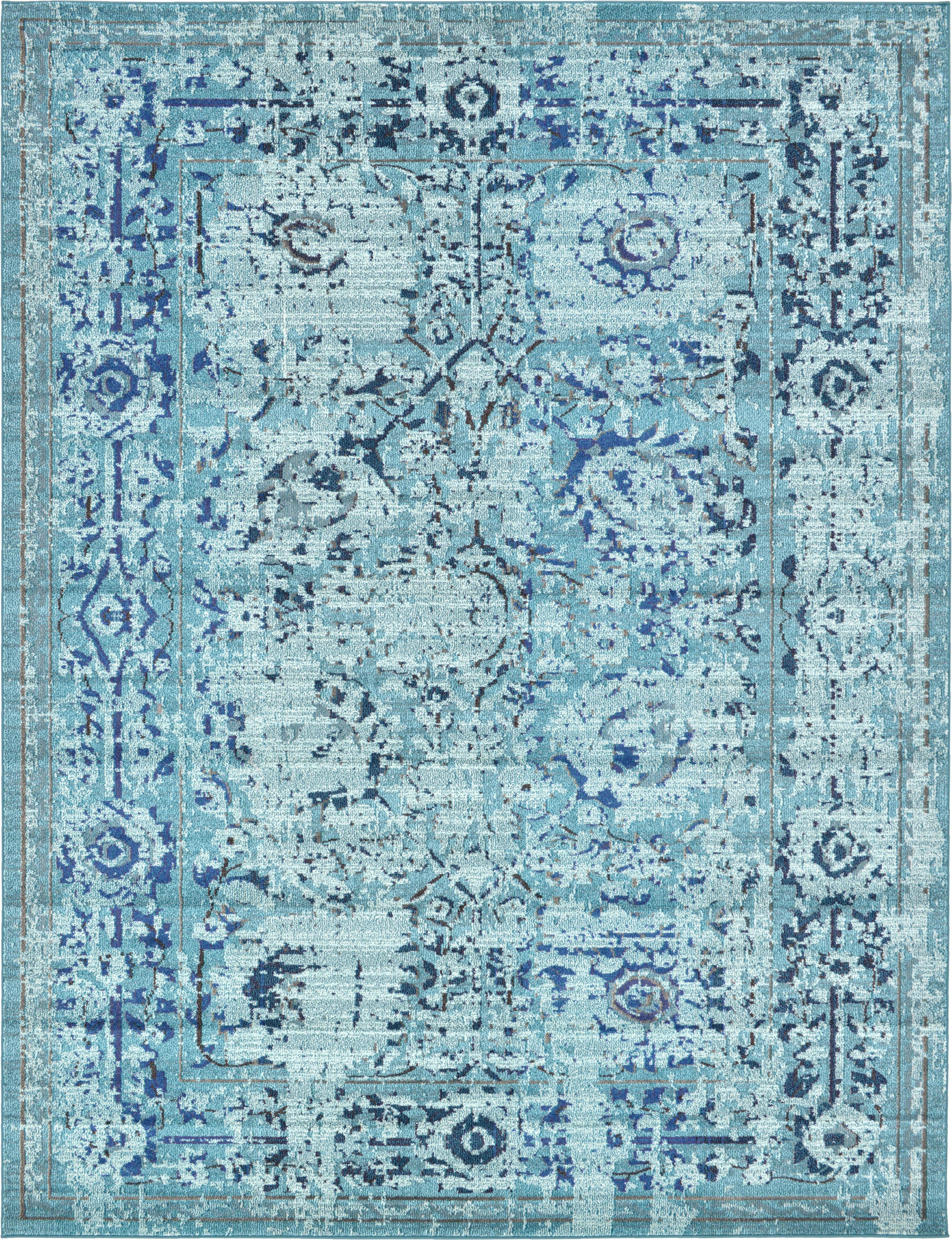 Mistana Charleena Oriental Light Blue Navy Blue Ivory Area Rug Reviews Wayfair