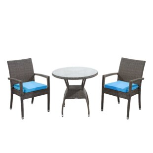 Rattan Outdoor Furniture Brighton 3 Piece Dining Set with Cushions