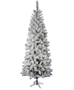 flocked pacific pine 75 white artificial pencil christmas tree with stand - Skinny White Christmas Tree