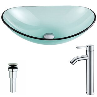 Major Glass Oval Vessel Bathroom Sink with Faucet ANZZI
