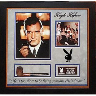 Autographed Collage 'Hugh Hefner with Pipe' Framed Memorabilia By LuxeWest