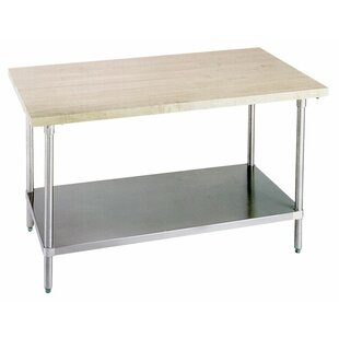 A-Line by Advance Tabco Prep Table with Wood Top