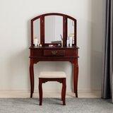 Masboro Vanity Set with Stool and Mirror by Charlton Home®