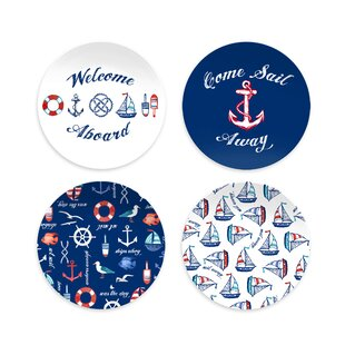 Emilio Nautical Assorted 4 Piece Melamine Salad Plate Set