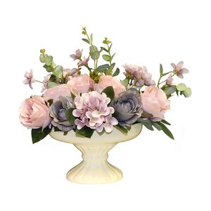 Faux Rose and Hydrangea Centerpiece in Urn