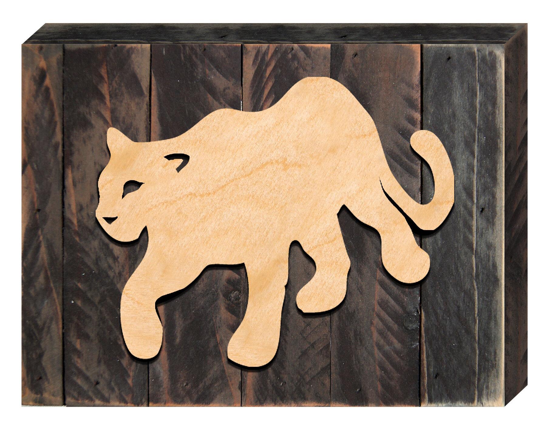 Designocracy Mountain Lion Art Rustic Wooden Wall Décor | Wayfair