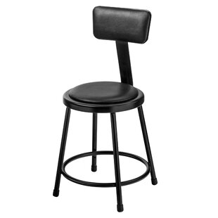 Padded Industrial Stool with Backrest