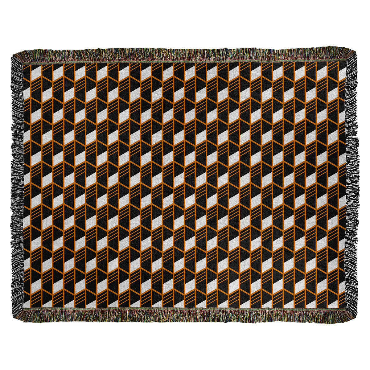 Ebern Designs Leffel Heavy Geometric Stripes Woven Cotton Blanket Wayfair