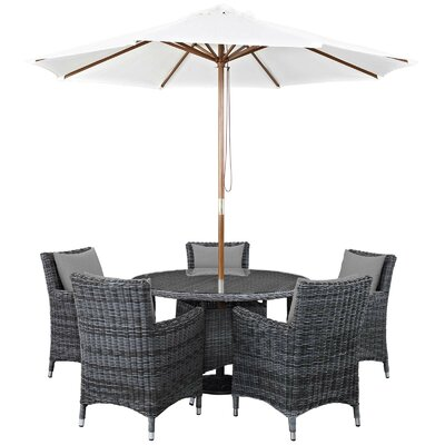 Alaia 7 Piece Rattan Sunbrella Dining Set with Cushions Cushion Color: Gray by Brayden Studio