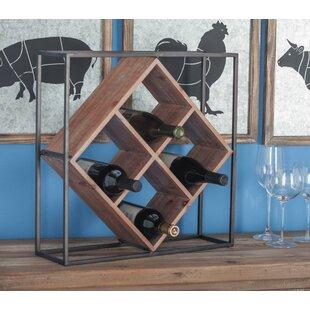 Villagomez Metal/Wood 4 Bottle Tabletop Wine Rack
