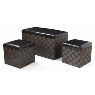 Adeco Trading 3 Piece Storage Ottoman Set