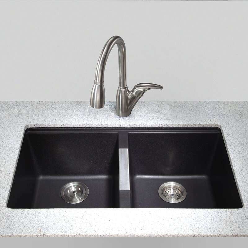 "Bathroom Sinks Double Basin kraus 32.5"" x 18.88"" double basin undermount kitchen sink"