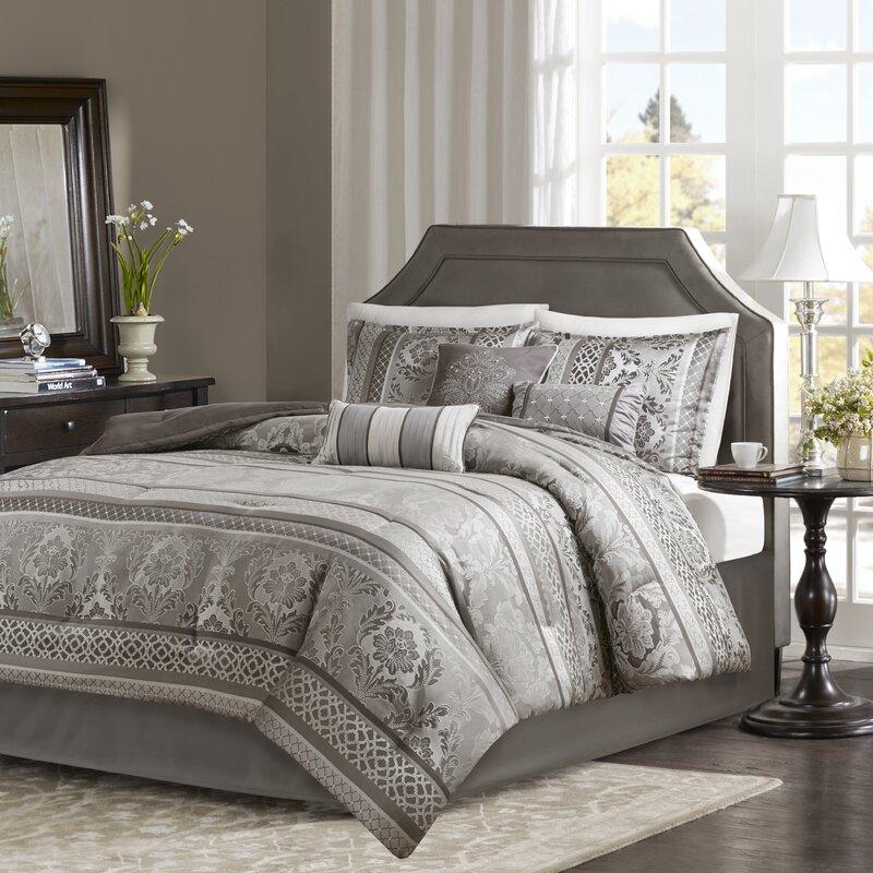 Full Size Comforter Set Best Bed Comfy Luxury Jacquard Microfiber 5 pcs Gray NEW