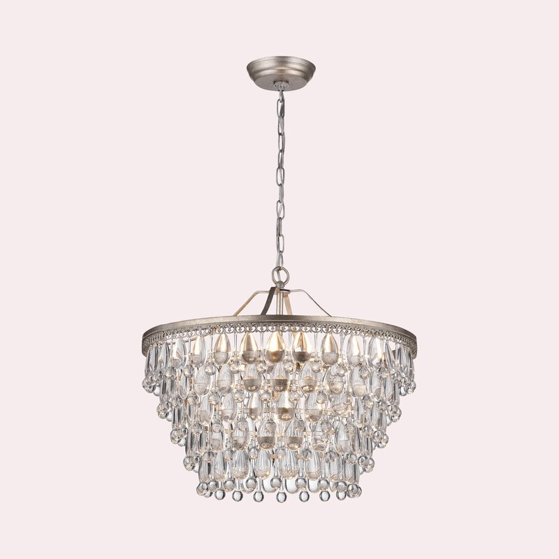 Camille 6 - Light Unique / Statement Tiered Chandelier with Crystal Accents
