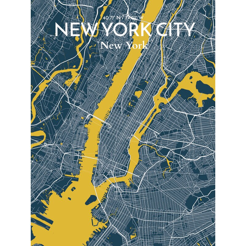 City Map Of New York City.Ourposter Com New York City Map Graphic Art Print Poster In Amuse