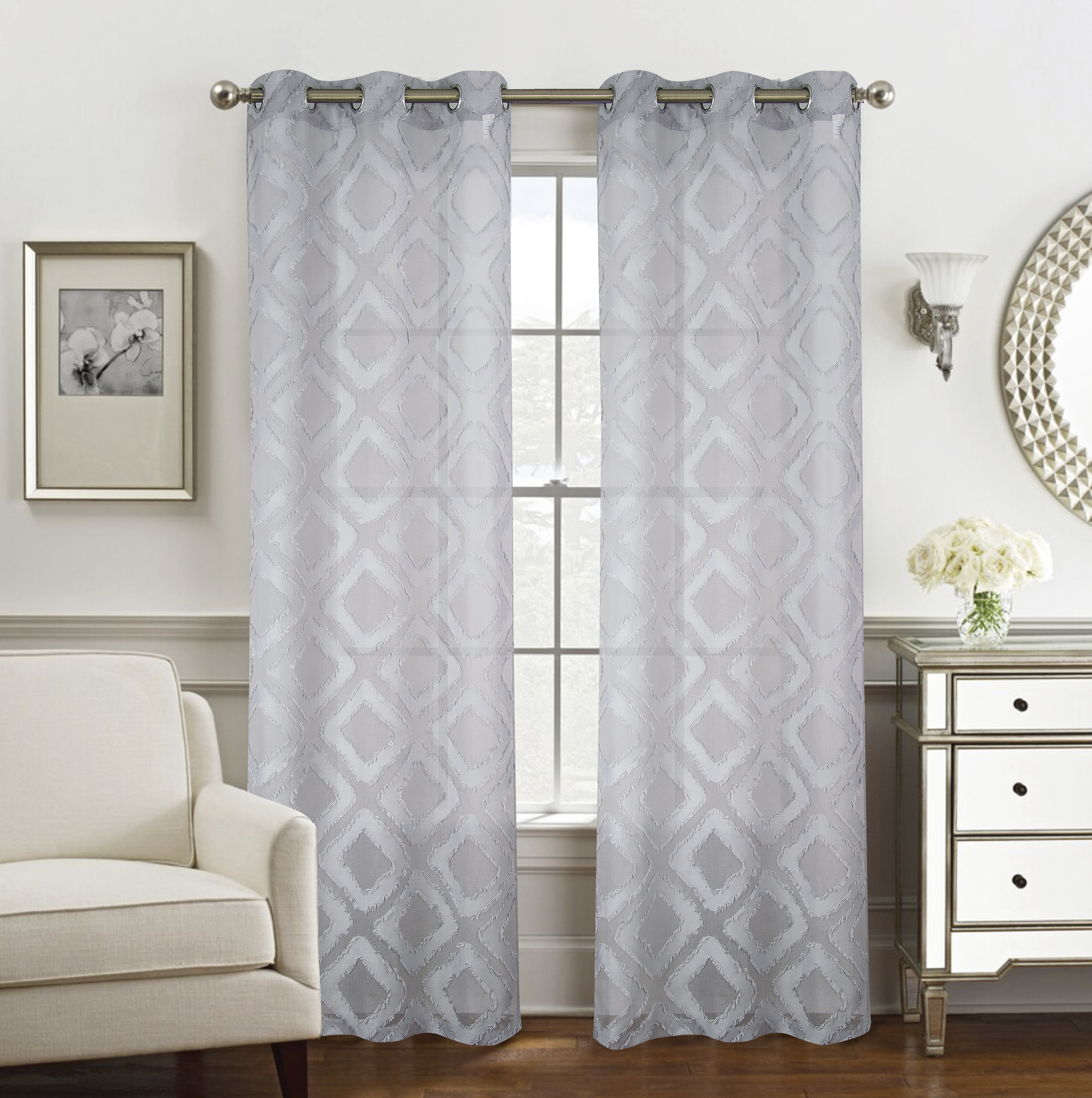 Bungalow Rose Tahsin Geometric Semi Sheer Grommet Curtain Panels Wayfair