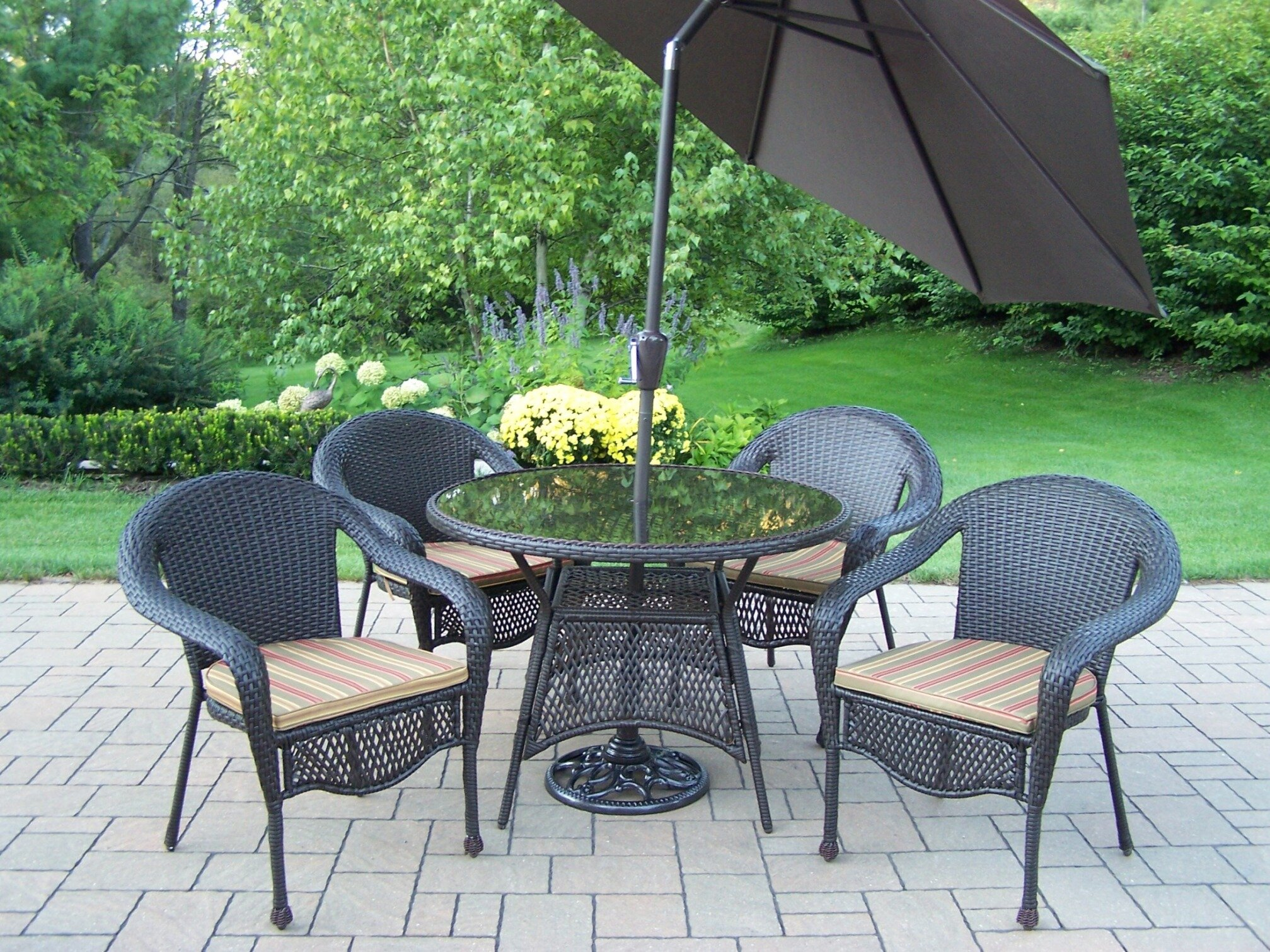 Oakland Living Elite Resin Wicker 5 Piece Dining Set With Cushions And Umbrella Wayfair