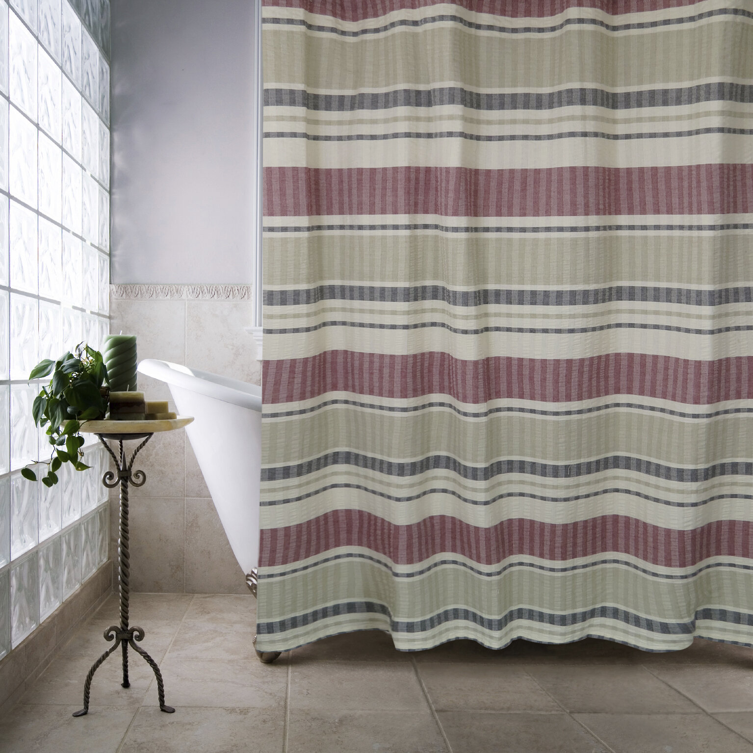 Metro farmhouse cotton seersucker bands single shower curtain reviews birch lane