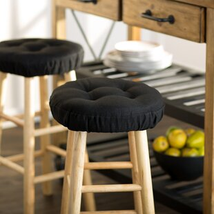 """12-15/"""" Slip Resistant Round Bar Stool Cover Chair Seat Cushion Sleeves Beige"""