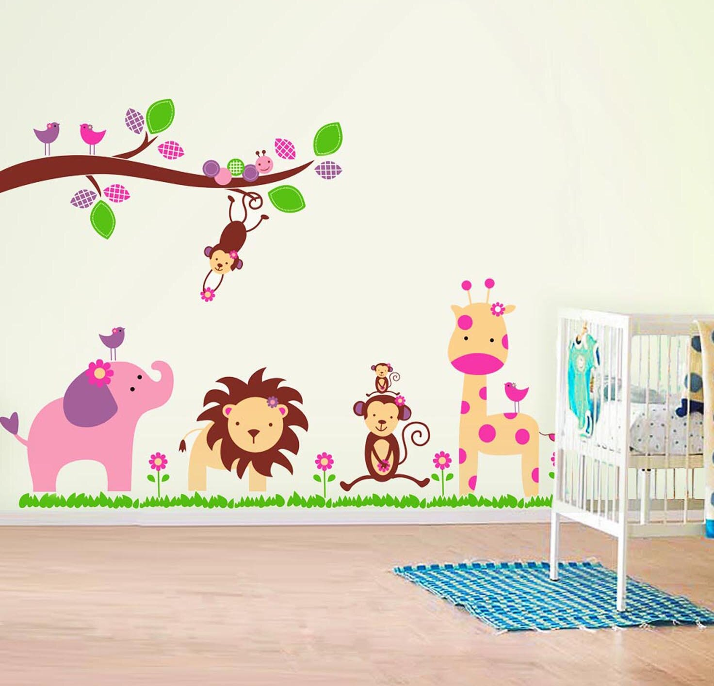 Walplus Window View of Animal Friends with Huge Monkey Jungle Wall Decorations