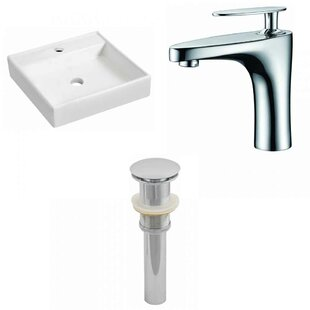 Compare prices Ceramic 17.5 Wall Mount Bathroom Sink with Faucet ByRoyal Purple Bath Kitchen