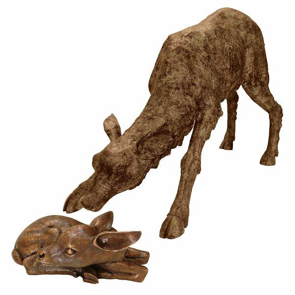 Amazing Design Toscano 2 Piece Mother Deer Doe Nudging Baby Fawn Garden Statue Set  | Wayfair