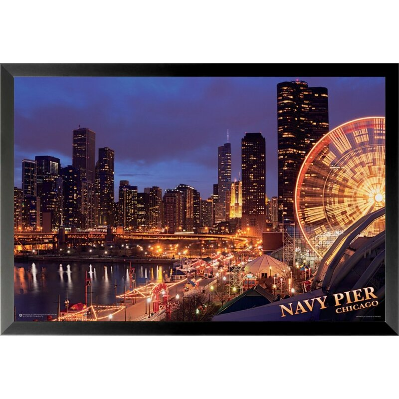 'navy Pier At Sunset Chicago Skyline Nighttime Ferris Wheel Lights Coastal City' Framed ': Pier And Sunset Color Sheet At Alzheimers-prions.com