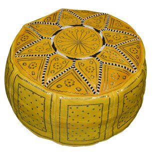 Nokomis 18'' Genuine Leather Round Pouf Ottoman By Bungalow Rose