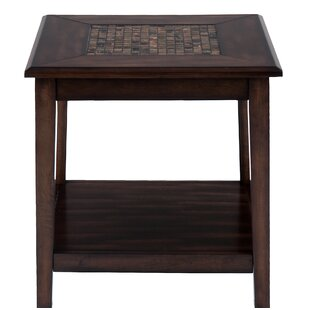Ipswich Mosaic Tile Inlay Wooden End Table