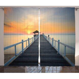 Landscape Sunset Decor Graphic Print Room Darkening Rod Pocket Curtain Panels (Set of 2) by East Urban Home