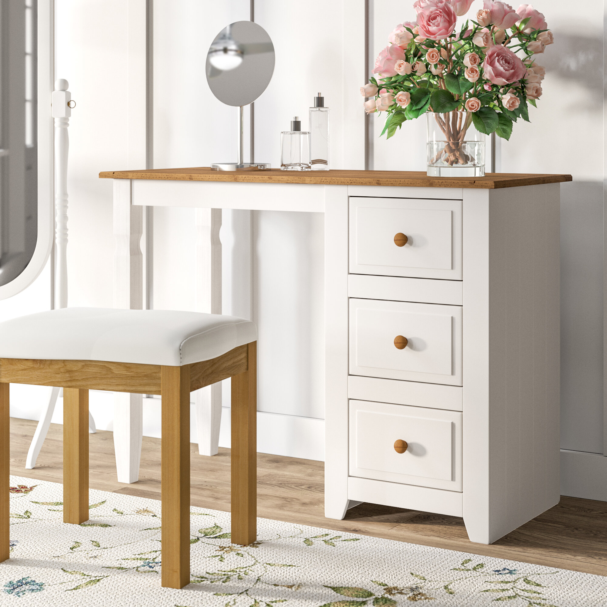 Single Pedestal Dressing Table 4 Drawers In Pine Table Furniture
