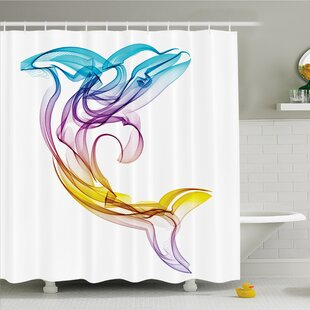 Sea Animals Dolphin Figure with Ornamentals Abstract Art Aquatic Animal Illustration Image Shower Curtain Set