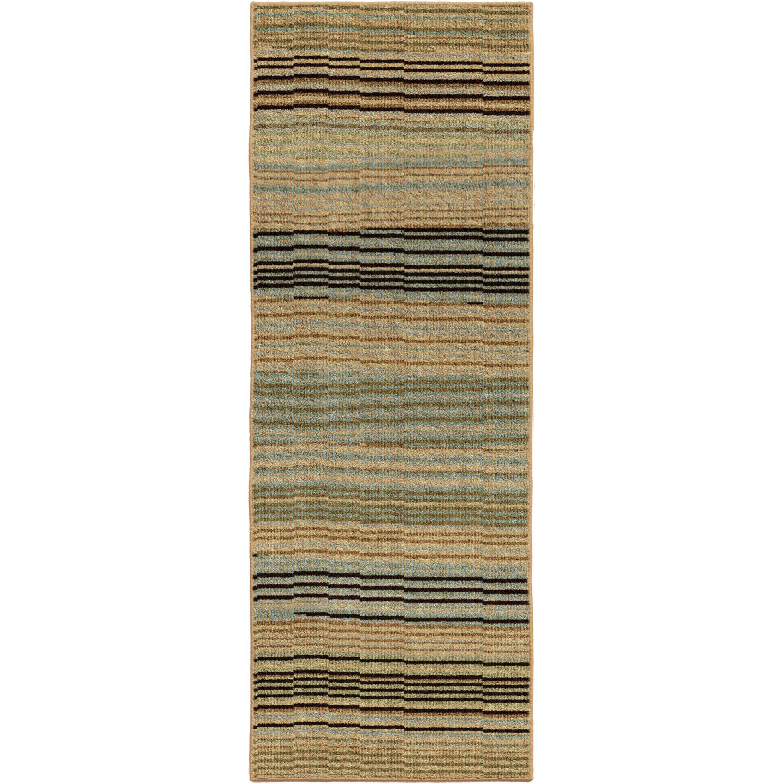 Rosalind Wheeler Lloyd Striped Blue Brown Area Rug Set Wayfair