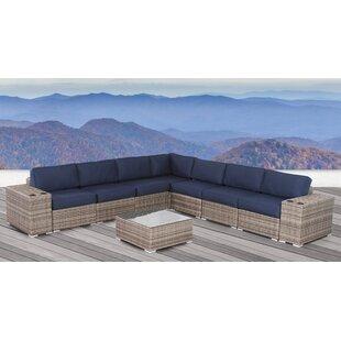 Fawcett Resort Resort Grade Cup Holder 10 Piece Rattan Sunbrella Sectional Seating Group