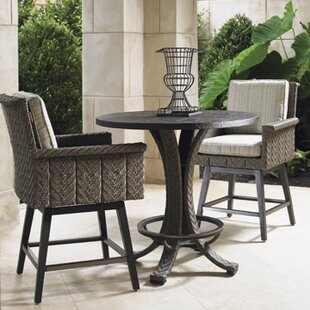 Tommy Bahama Home Blue Olive 3 Piece Bar Height Dining Set with Cushions