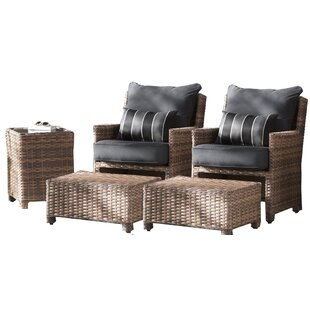 Dutil 3 Piece Rattan Sunbrella Conversation Set with Cushions