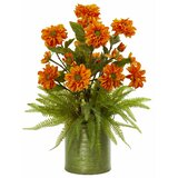 Artificial Mixed Floral Arrangement in Planter by Charlton Home®