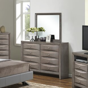 Shim 8 Drawer Double Dresser with Mirror by Winston Porter