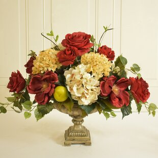 Elegant Silk Rose and Hydrangea Floral Arrangement in Decorative Vase