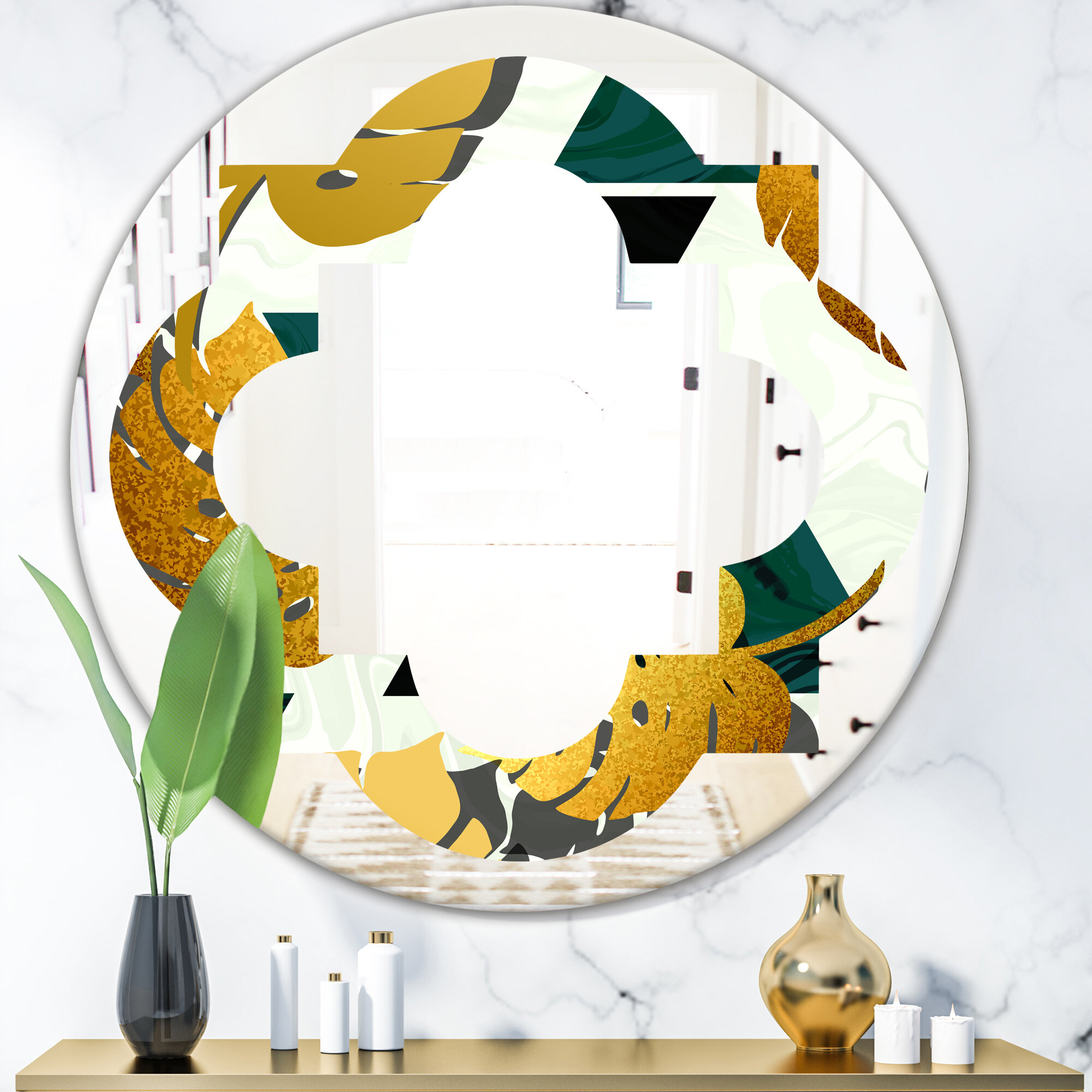 East Urban Home Quatrefoil Foliage V Coastal Frameless Wall Mirror Wayfair