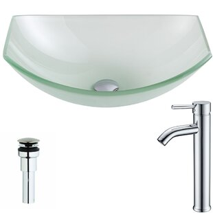 Affordable Pendant Glass Specialty Vessel Bathroom Sink with Faucet By ANZZI