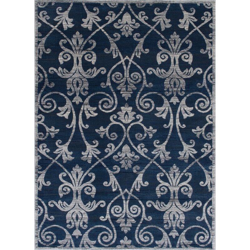 Darby Home Co Audric Contemporary Floral Thunder Blue Area Rug Wayfair