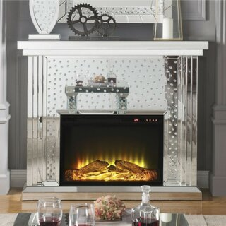 Declan Faux Crystal Inlaid Wooden Electric Fireplace With Remote Controller, Silver by Everly Quinn SKU:BC477711 Reviews