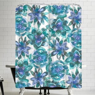 Jetty Printables Watercolor Blue and Green Succulent Single Shower Curtain