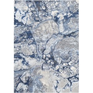 Candelaria Abstract Bright Blue/Navy Area Rug