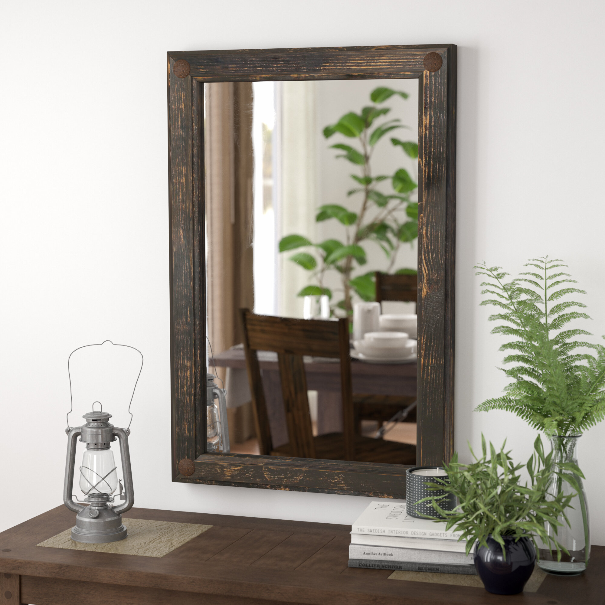 Foundry Select Creek Rustic Distressed Accent Mirror Reviews Wayfair