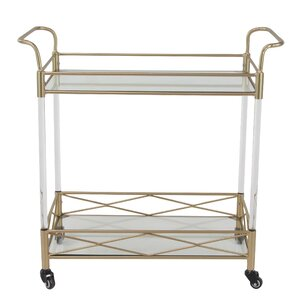 Anesicia Modern 2-Tiered Iron and Acrylic Storage Bar Cart by Everly Quinn